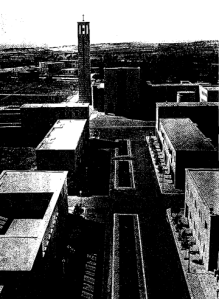 Sabaudia. View of parish church looking northwest from tower of town hall G. Cancellotti, E. Montouri, L. Piccinato, and A. Scapelli, architects and planners, 1933. (photo: ENIT, Rome)